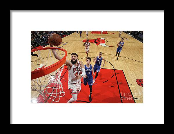 Nba Pro Basketball Framed Print featuring the photograph Philadelphia 76ers V Chicago Bulls by Gary Dineen