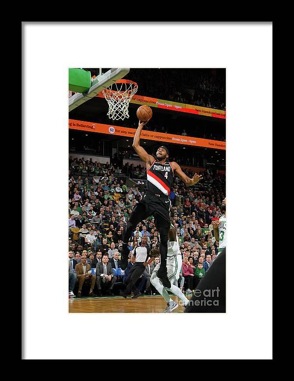 Moe Harkless Framed Print featuring the photograph Portland Trail Blazers V Boston Celtics by Brian Babineau