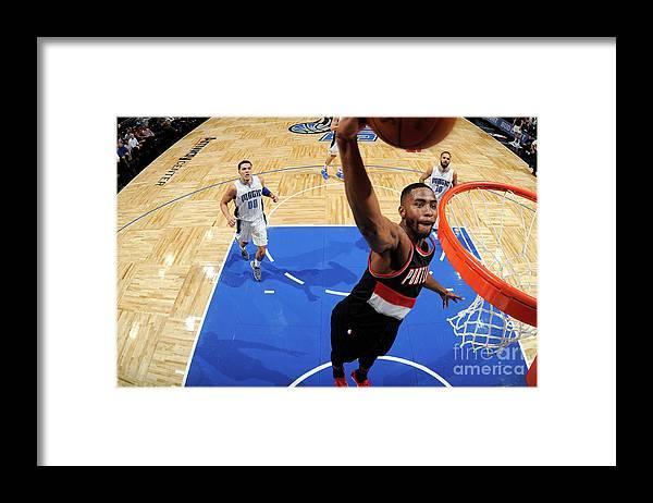 Moe Harkless Framed Print featuring the photograph Portland Trail Blazers V Orlando Magic by Fernando Medina