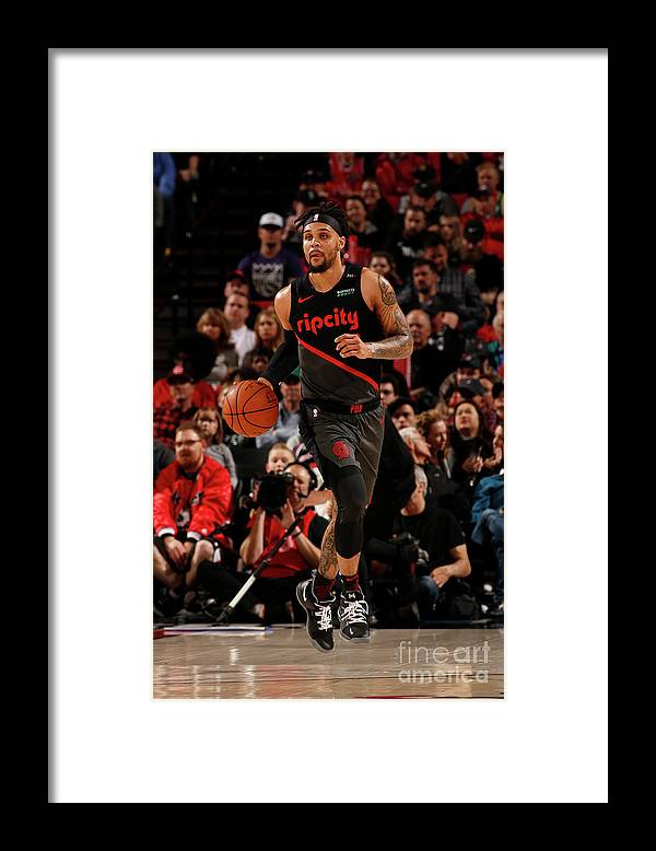 Nba Pro Basketball Framed Print featuring the photograph Sacramento Kings V Portland Trail by Cameron Browne