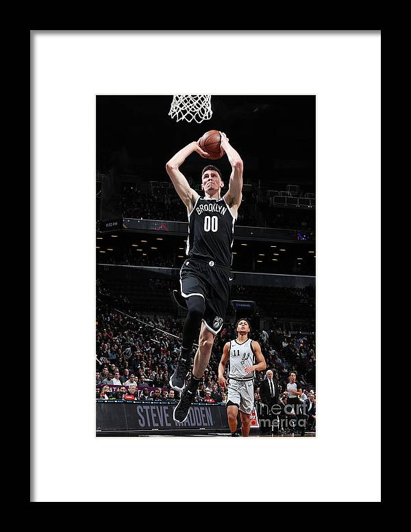 Nba Pro Basketball Framed Print featuring the photograph San Antonio Spurs V Brooklyn Nets by Nathaniel S. Butler