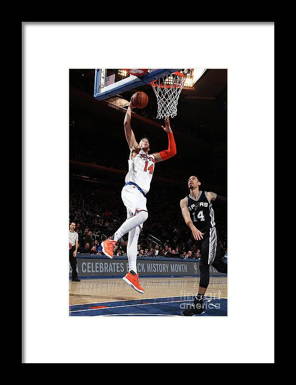Guillermo Hernangómez Geuer Framed Print featuring the photograph San Antonio Spurs V New York Knicks by Nathaniel S. Butler