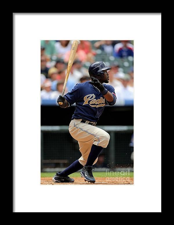 Tony Gwynn Jr. Framed Print featuring the photograph San Diego Padres V Colorado Rockies by Doug Pensinger