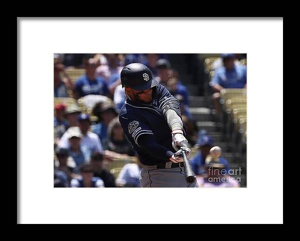 Three Quarter Length Framed Print featuring the photograph San Diego Padres V Los Angeles Dodgers by Victor Decolongon