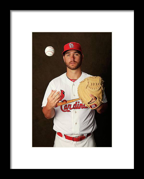 Media Day Framed Print featuring the photograph St. Louis Cardinals Photo Day by Rob Carr