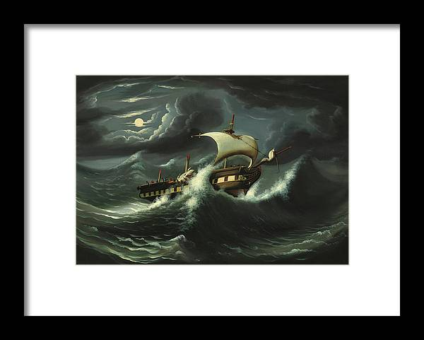 Painting Framed Print featuring the painting Storm Tossed Frigate by Thomas Chambers