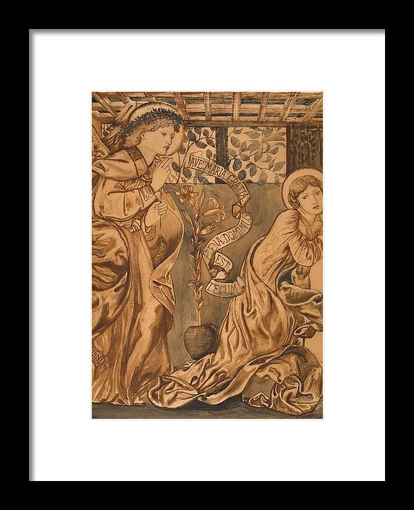 The Annunciation Framed Print featuring the painting The Annunciation by Edward Burne-Jones