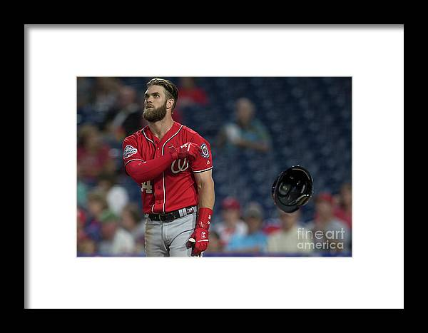 Game Two Framed Print featuring the photograph Washington Nationals V Philadelphia 4 by Mitchell Leff