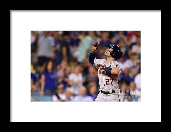 Game Two Framed Print featuring the photograph World Series - Houston Astros V Los by Harry How