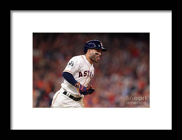 Three Quarter Length Framed Print featuring the photograph World Series - Los Angeles Dodgers V by Christian Petersen