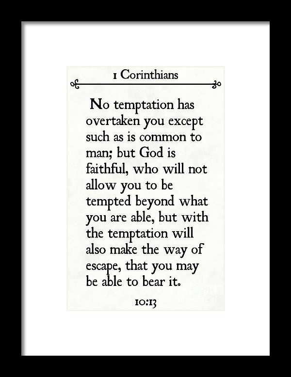 1 Corinthians 10 13 Inspirational Quotes Wall Art Collection Framed Print By Mark Lawrence