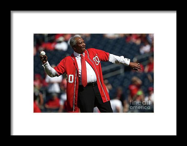 Three Quarter Length Framed Print featuring the photograph Atlanta Braves V Washington Nationals 5 by Patrick Smith