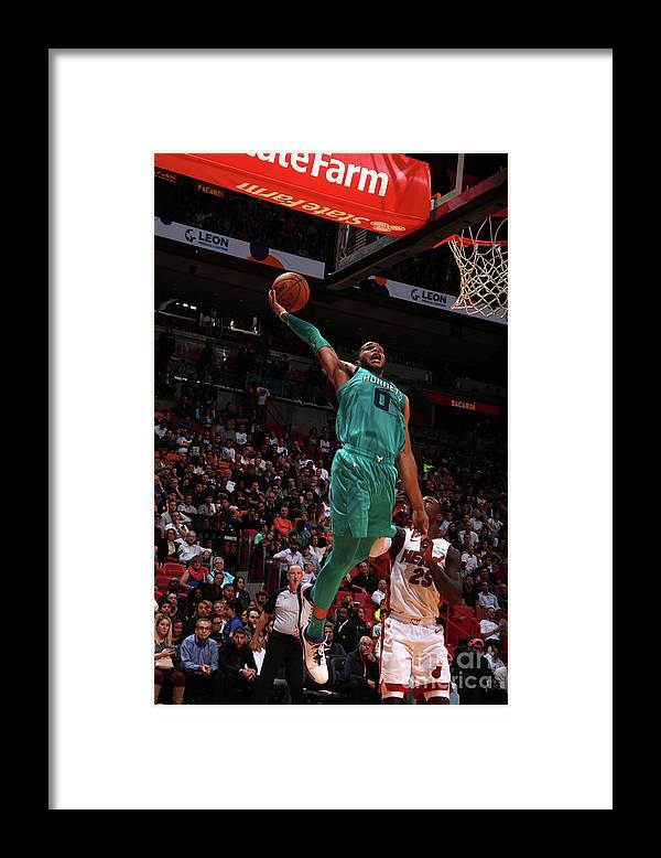 Nba Pro Basketball Framed Print featuring the photograph Charlotte Hornets V Miami Heat by Issac Baldizon