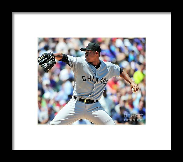 Three Quarter Length Framed Print featuring the photograph Chicago White Sox V Chicago Cubs by David Banks