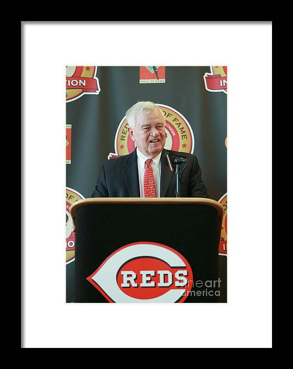 Great American Ball Park Framed Print featuring the photograph Cincinnati Reds Hall Of Fame News 5 by Mark Lyons