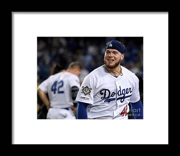 People Framed Print featuring the photograph Cincinnati Reds V Los Angeles Dodgers 5 by Harry How