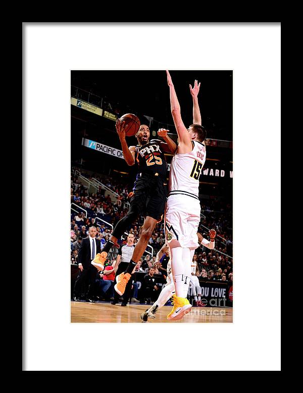 Nba Pro Basketball Framed Print featuring the photograph Denver Nuggets V Phoenix Suns by Barry Gossage