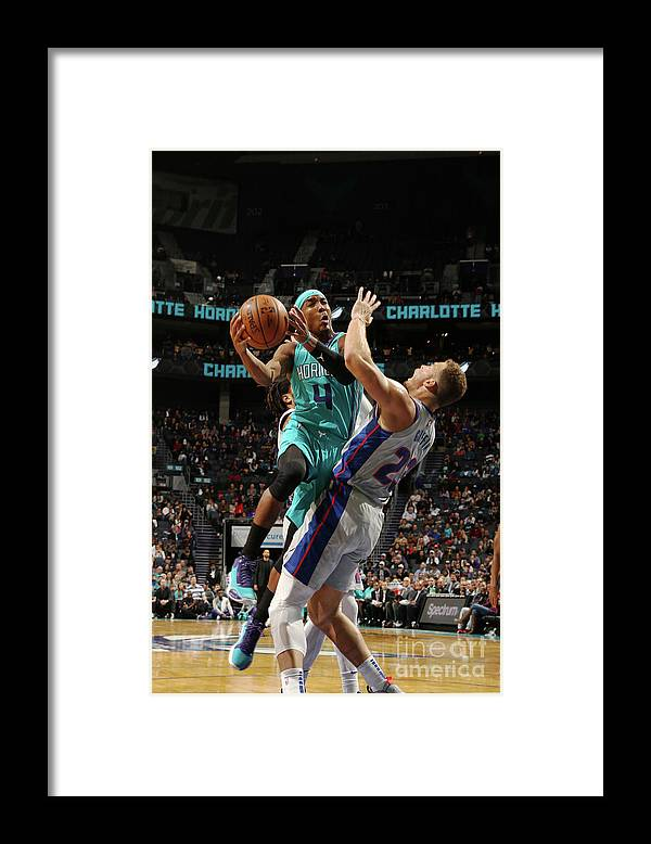 Nba Pro Basketball Framed Print featuring the photograph Detroit Pistons V Charlotte Hornets by Brock Williams-smith