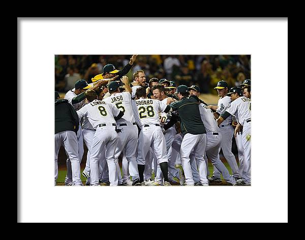 American League Baseball Framed Print featuring the photograph Detroit Tigers V Oakland Athletics 5 by Thearon W. Henderson