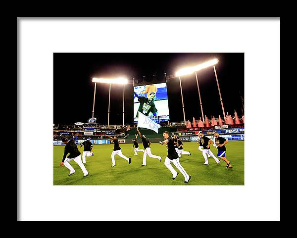 American League Baseball Framed Print featuring the photograph Division Series - Los Angeles Angels Of by Jamie Squire