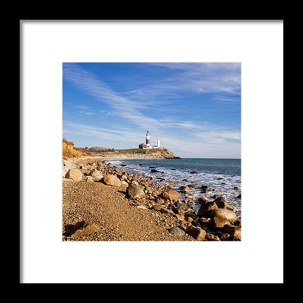 Headland Framed Print featuring the photograph Lighthouse At Montauk Point, Long by Alex Potemkin