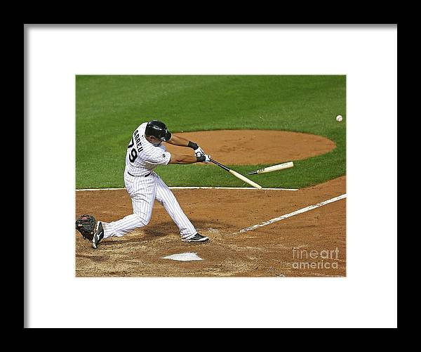 American League Baseball Framed Print featuring the photograph Los Angeles Angels Of Anaheim V Chicago by Jonathan Daniel