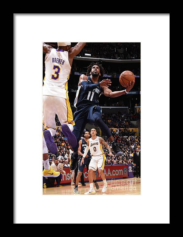 Nba Pro Basketball Framed Print featuring the photograph Memphis Grizzlies V Los Angeles Lakers by Andrew D. Bernstein