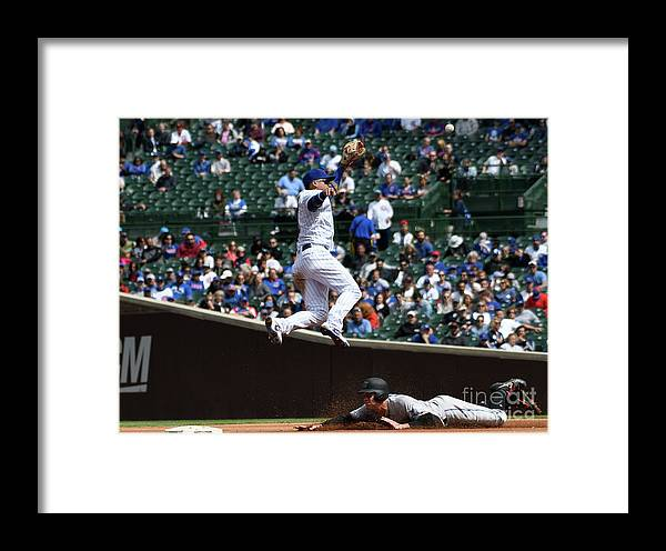 People Framed Print featuring the photograph Miami Marlins V Chicago Cubs by David Banks