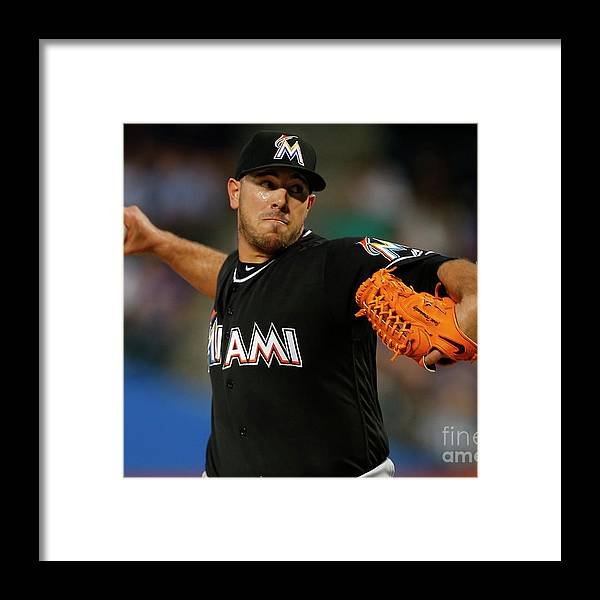 People Framed Print featuring the photograph Miami Marlins V New York Mets by Rich Schultz