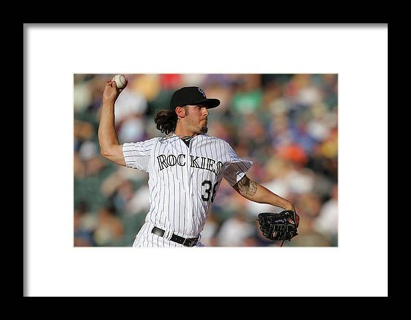 Baseball Pitcher Framed Print featuring the photograph Milwaukee Brewers V Colorado Rockies by Doug Pensinger