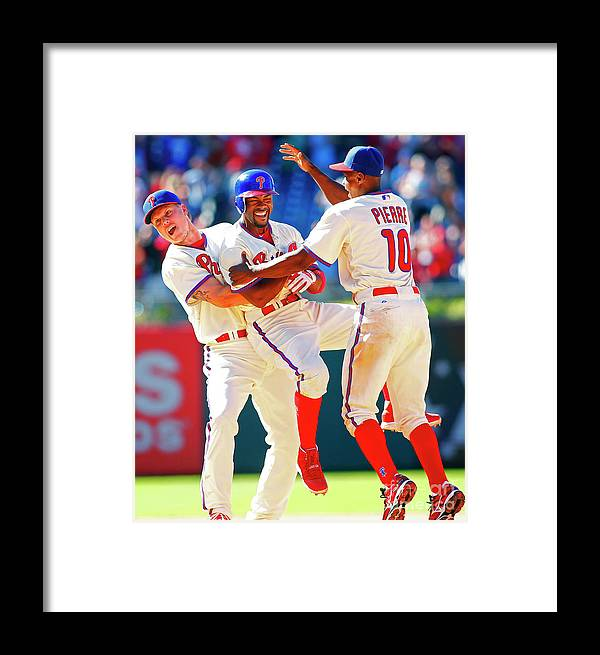 Citizens Bank Park Framed Print featuring the photograph Milwaukee Brewers V Philadelphia by Rich Schultz