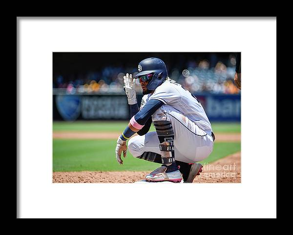 People Framed Print featuring the photograph Milwaukee Brewers V San Diego Padres by Denis Poroy