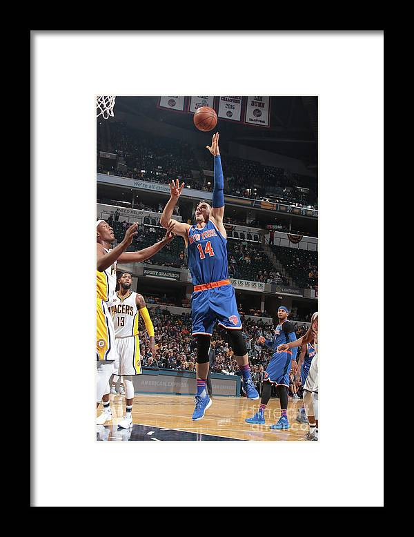 Guillermo Hernangómez Geuer Framed Print featuring the photograph New York Knicks V Indiana Pacers by Ron Hoskins