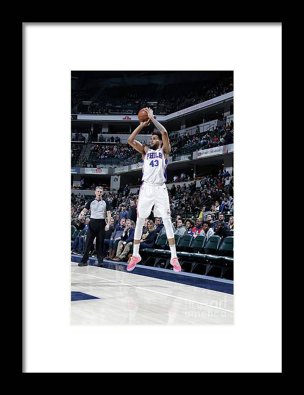 Nba Pro Basketball Framed Print featuring the photograph Philadelphia 76ers V Indiana Pacers by Ron Hoskins