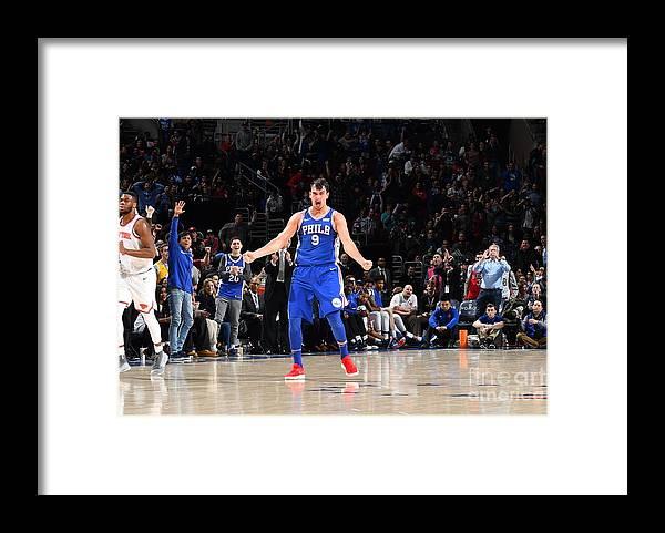 Description Framed Print featuring the photograph Philadelphia 76ers V New York Knicks by Jesse D. Garrabrant