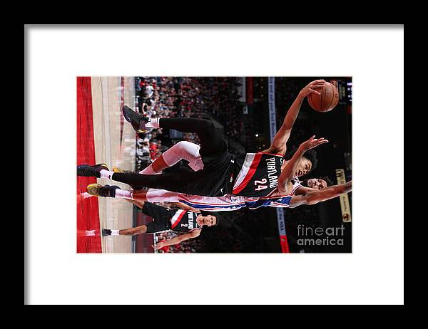 Nba Pro Basketball Framed Print featuring the photograph Philadelphia 76ers V Portland Trail by Sam Forencich