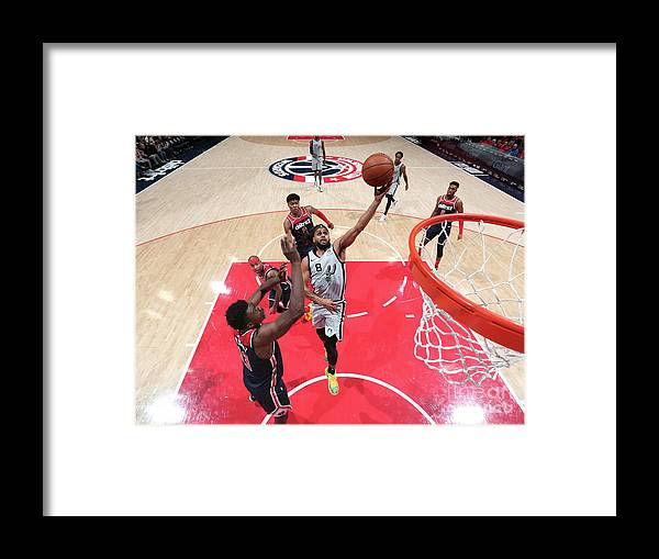 Nba Pro Basketball Framed Print featuring the photograph San Antonio Spurs V Washington Wizards by Ned Dishman