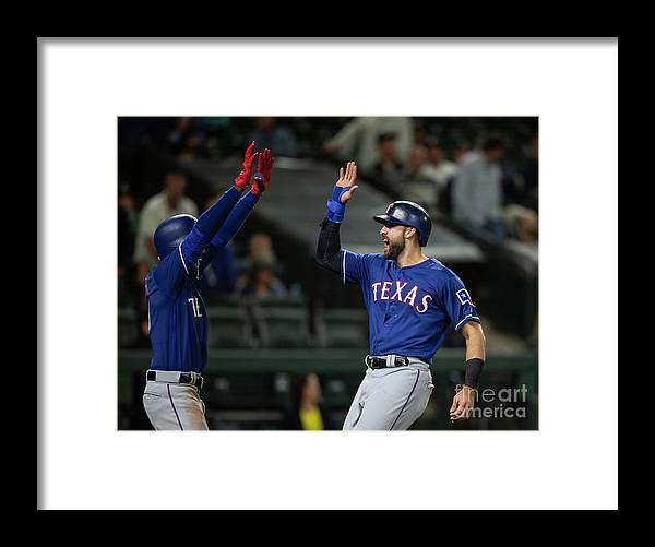 Three Quarter Length Framed Print featuring the photograph Texas Rangers V Seattle Mariners by Stephen Brashear