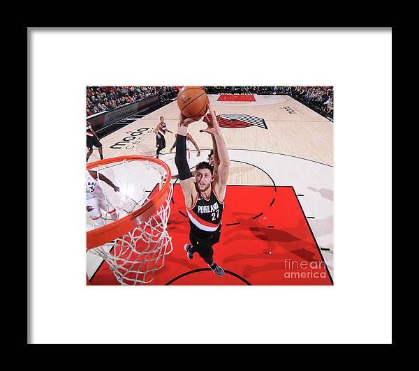 Jusuf Nurkić Framed Print featuring the photograph Toronto Raptors V Portland Trail Blazers by Sam Forencich
