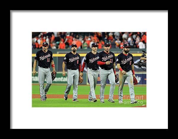 American League Baseball Framed Print featuring the photograph World Series - Washington Nationals V 5 by Mike Ehrmann