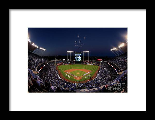 Firework Display Framed Print featuring the photograph Alcs - Baltimore Orioles V Kansas City by Jamie Squire