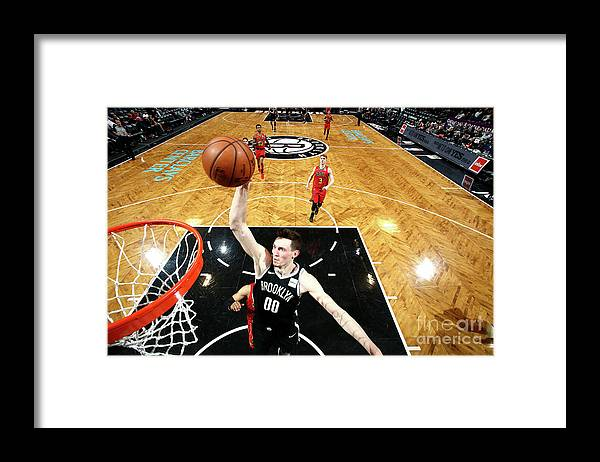 Nba Pro Basketball Framed Print featuring the photograph Atlanta Hawks V Brooklyn Nets by Nathaniel S. Butler