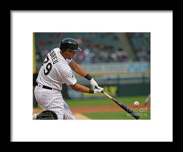 Three Quarter Length Framed Print featuring the photograph Boston Red Sox V Chicago White Sox by Jonathan Daniel