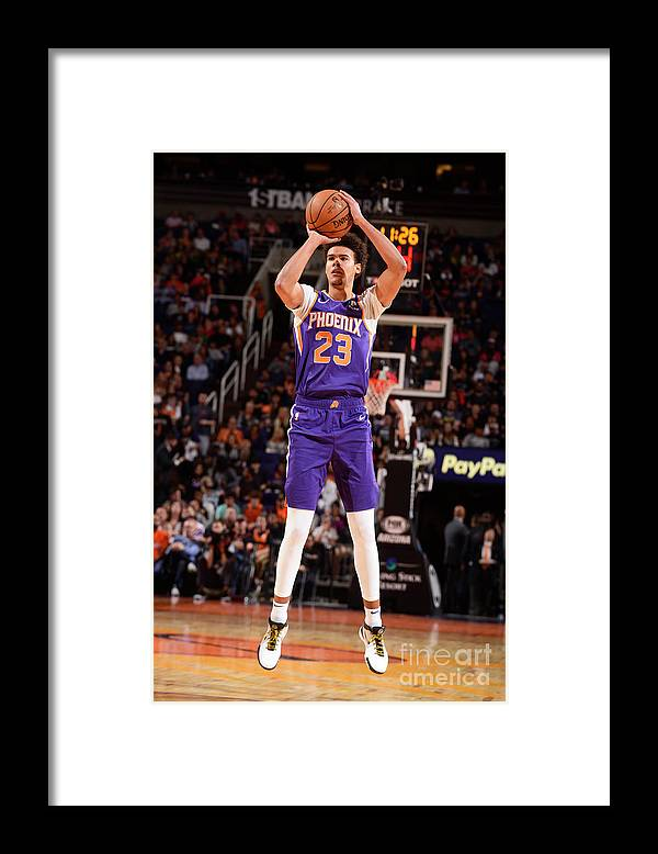 Nba Pro Basketball Framed Print featuring the photograph Brooklyn Nets V Phoenix Suns by Barry Gossage