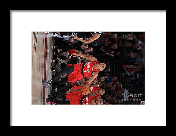 Nba Pro Basketball Framed Print featuring the photograph Brooklyn Nets V Portland Trail Blazers by Sam Forencich