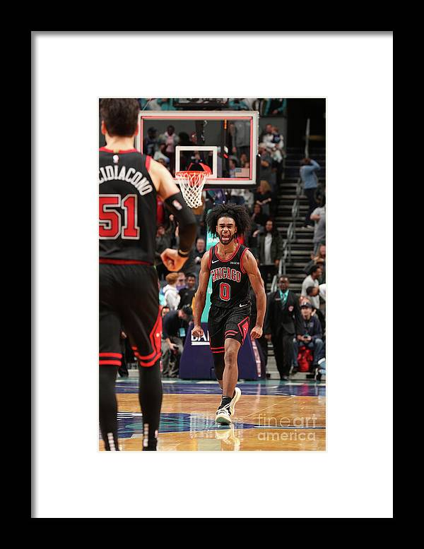 Coby White Framed Print featuring the photograph Chicago Bulls V Charlotte Hornets by Kent Smith
