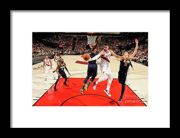 Jusuf Nurkić Framed Print featuring the photograph Denver Nuggets V Portland Trail Blazers by Cameron Browne