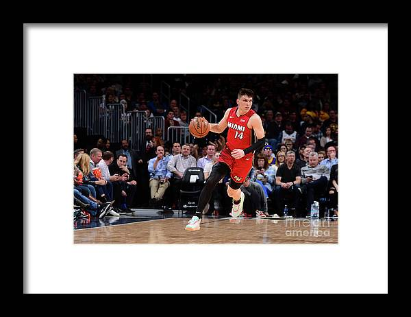 Tyler Herro Framed Print featuring the photograph Miami Heat V Denver Nuggets by Bart Young