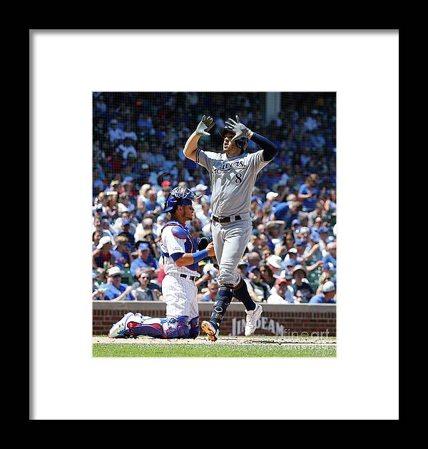 People Framed Print featuring the photograph Milwaukee Brewers V Chicago Cubs 6 by Nuccio Dinuzzo
