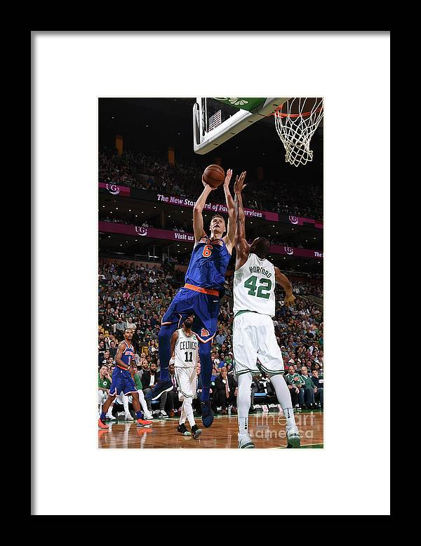 Nba Pro Basketball Framed Print featuring the photograph New York Knicks V Boston Celtics by Brian Babineau